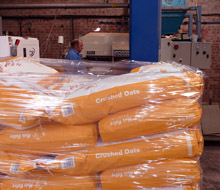 Bagged crushed oats ready for despatch from the Highclere Estate's Crux Easton Grain facility.